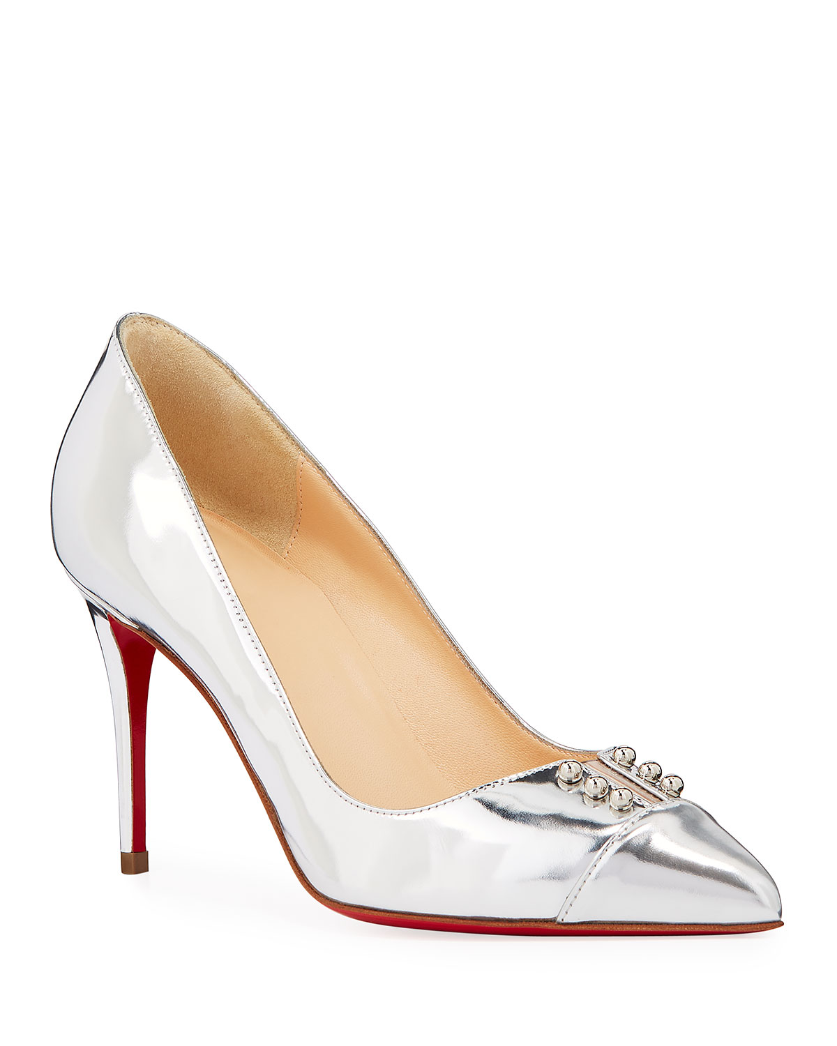 Christian Louboutin Leathers PREDU METALLIC LEATHER RED SOLE PUMPS
