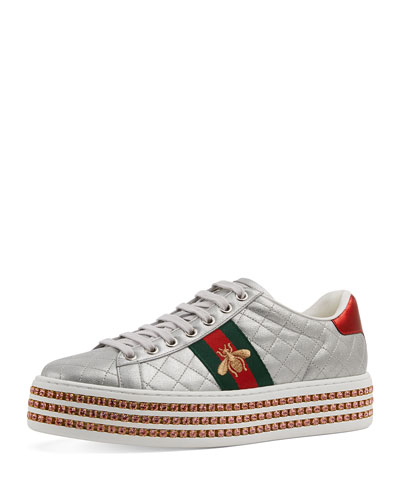 Quilted Crystal-Platform Sneakers