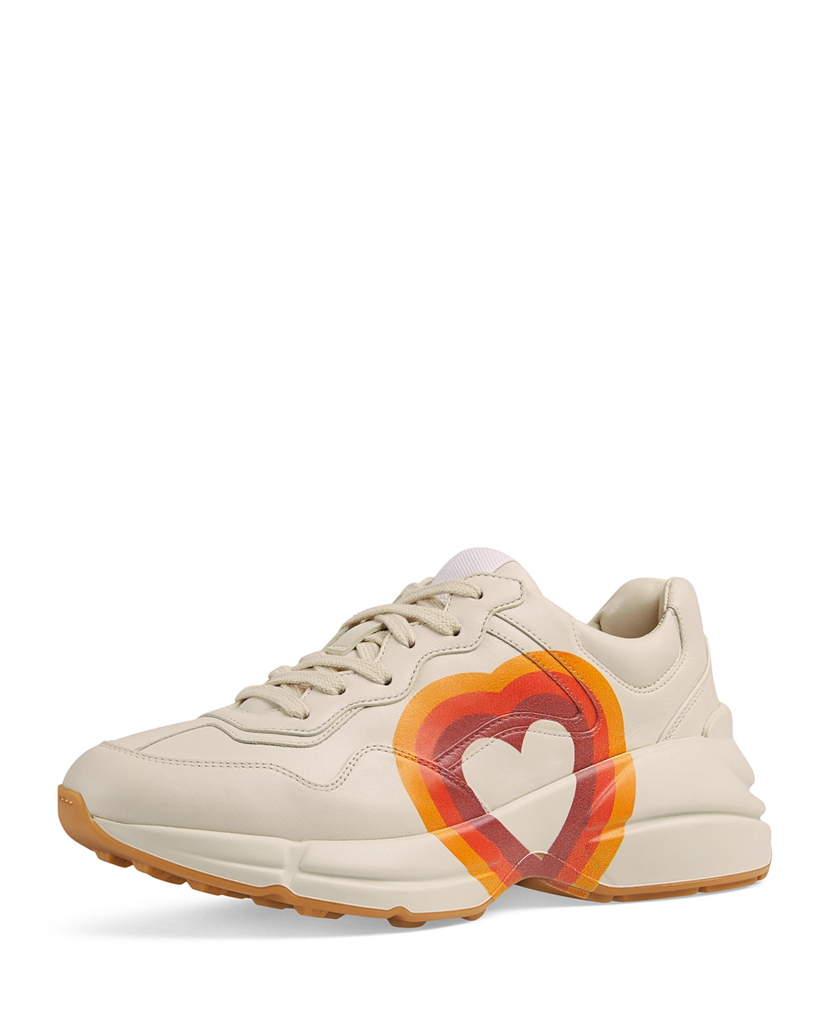 Interlocking G/Heart Leather Sneakers in Mystic White