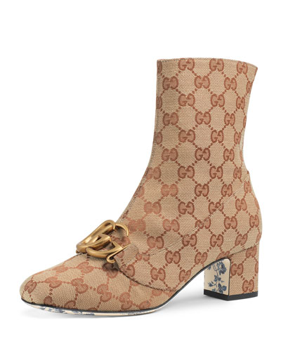 2f6905ecd9e GG Canvas Mid-Heel Booties with GG Detail