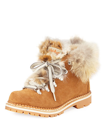 Margherita Suede Fur-Trimmed Boots