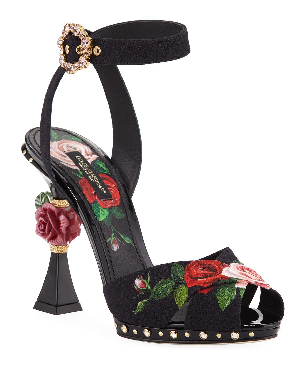 Dolce & Gabbana Crystals ROSE-PRINT HIGH SANDALS
