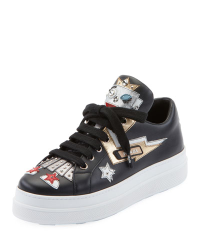 Embellished Robot Leather Sneakers