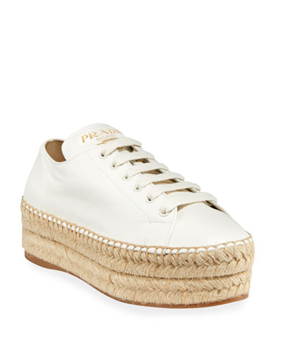 Leather Platform Sneaker Espadrilles