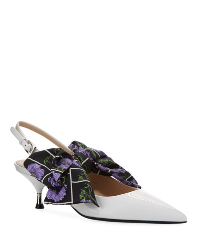 Patent Slingback Pumps with Bow
