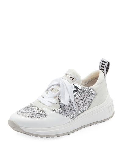 Mixed Media Platform Sneakers