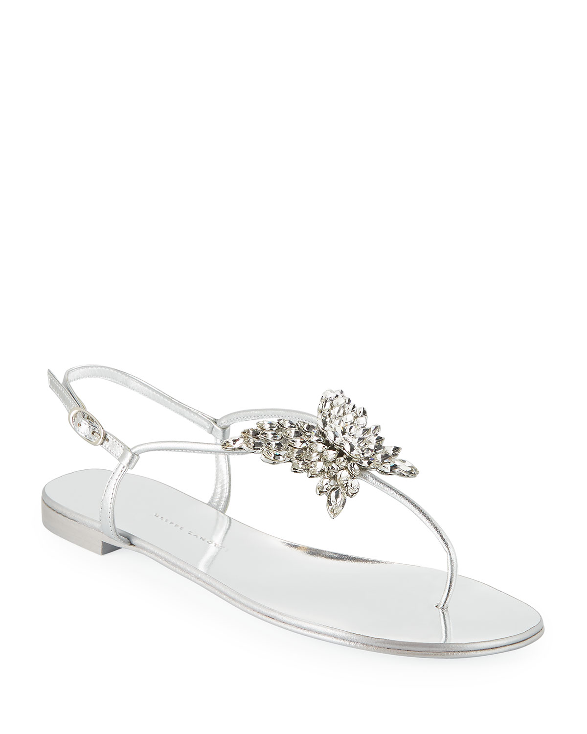 Giuseppe Zanotti Leathers FLAT METALLIC LEATHER THONG SANDALS WITH BUTTERFLY