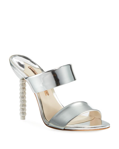 Rosalind Metallic Leather Crystal-Heel Slide Sandals
