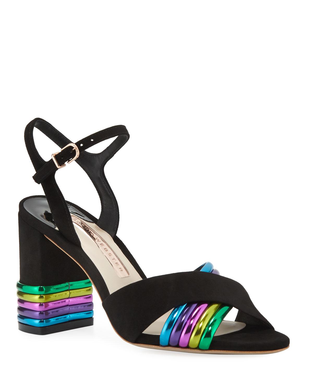 Sophia Webster Sandals JOY MID-HEEL METALLIC-STRIPE SANDALS