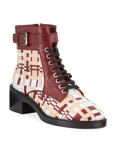 Solene Woven Leather Combat Booties