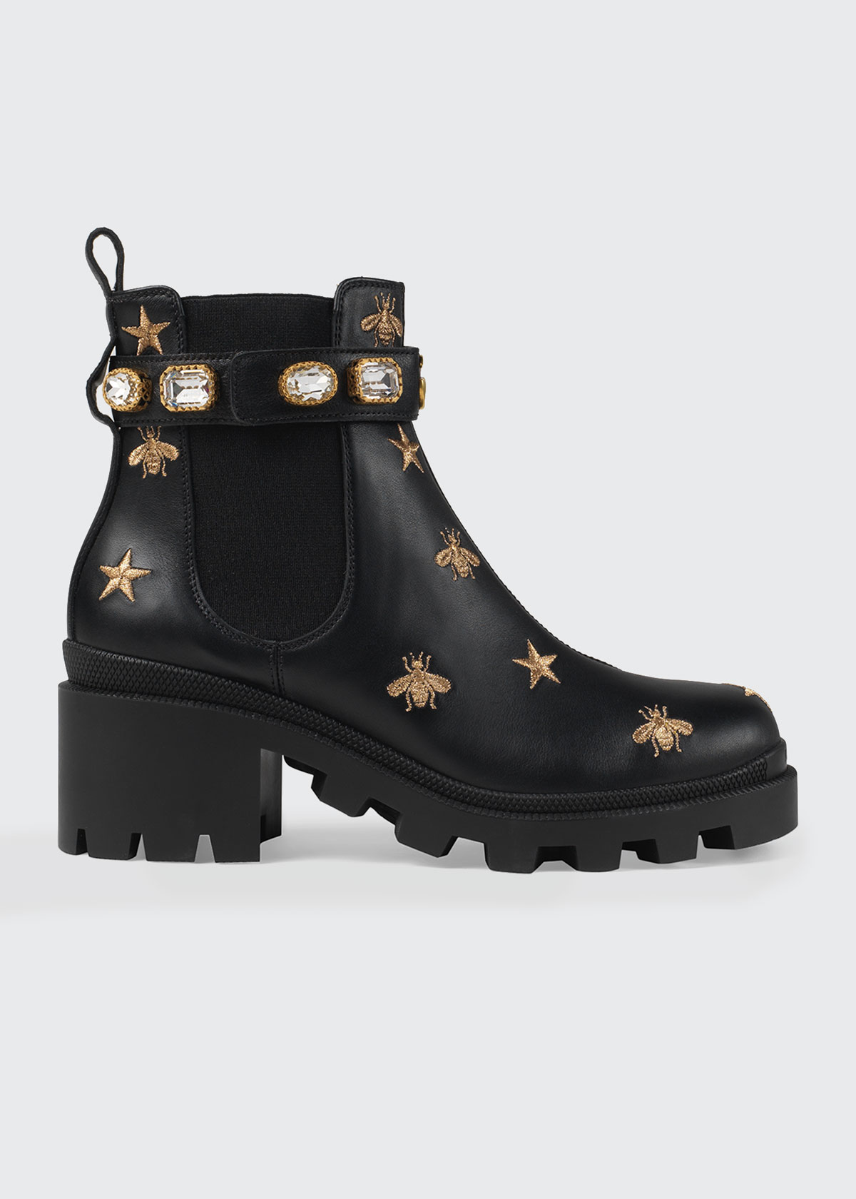 Trip Boot With Star And Bee Embroidery, Black