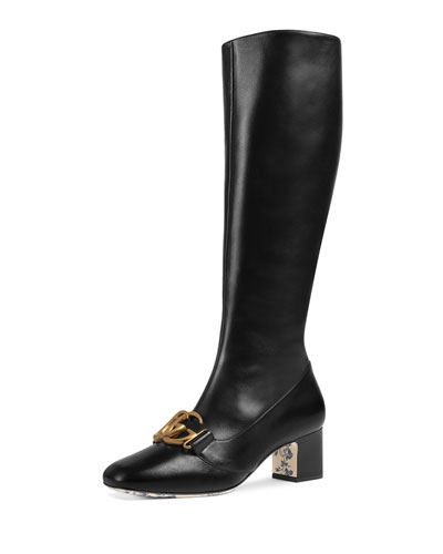 Victoire Low-Heel Leather Mid-Calf Boots with GG