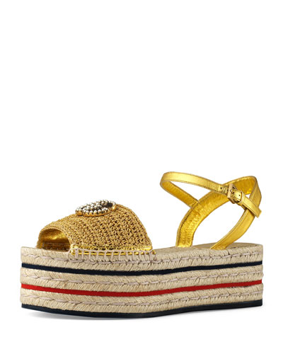 Layered Platform Metallic Espadrilles