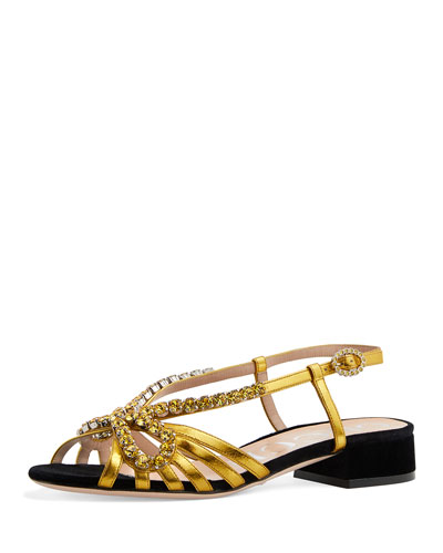 Strappy Slingback Crystal Sandals