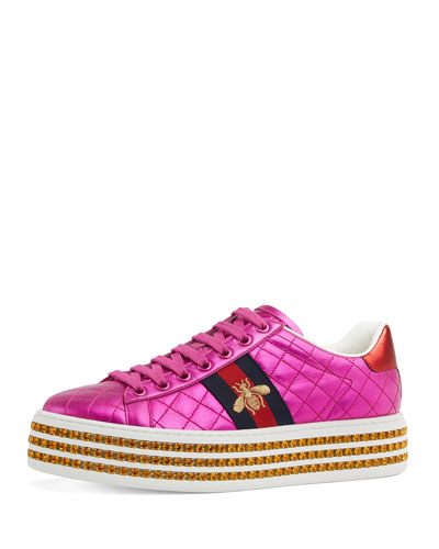 Quilted Platform Sneakers With Crystals