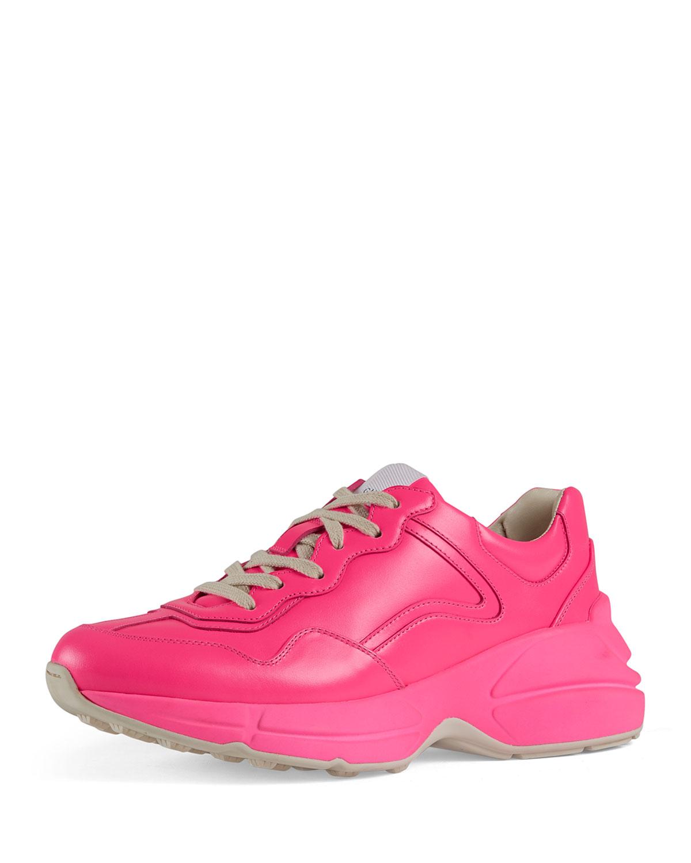 Rhyton Neon Platform Sneakers, Bright Pink