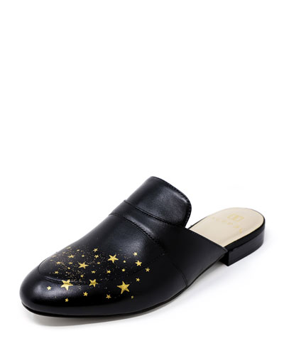 Hand-Painted Star Flat Leather Slide Mules