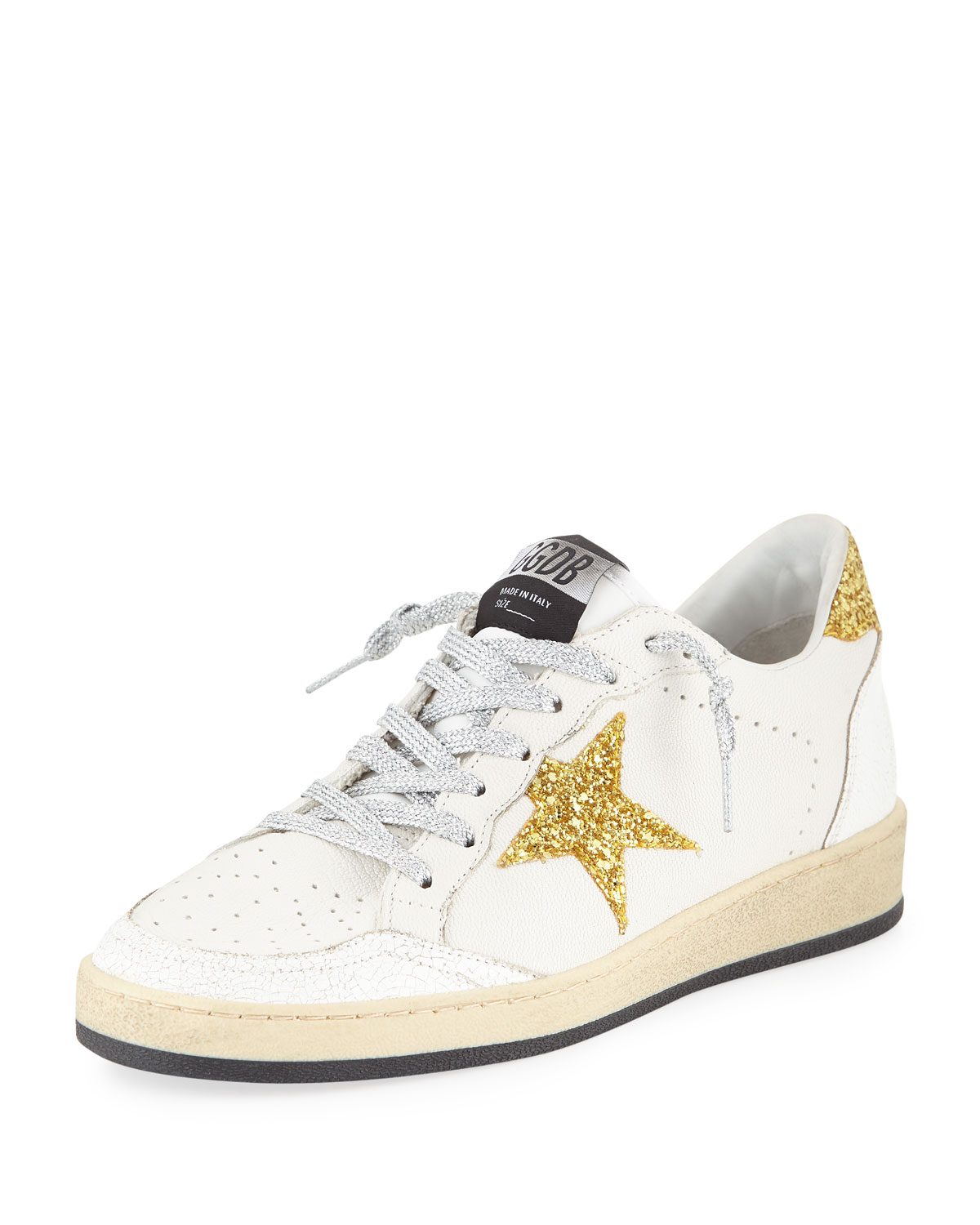 Ball Star Glitter & Leather Sneakers With Shimmer Laces, White/Gold