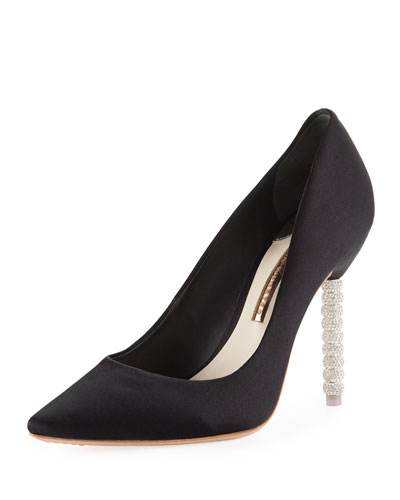 Coco Satin Crystal-Heel Pumps