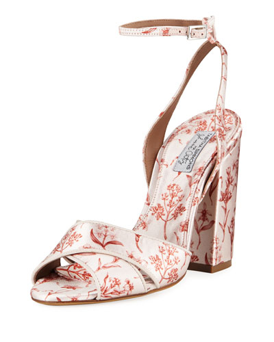 Connie Floral-Print Ankle Sandals