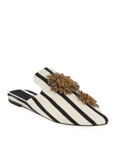 Clytie Flat Embroidered Mules