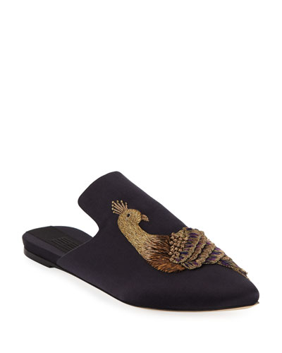 Pavone Flat Embroidered Mules