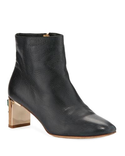 Ruben Combat Boots w/ Jeweled Heel