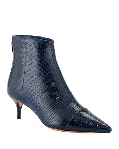 New Kittie Python Point-Toe Booties