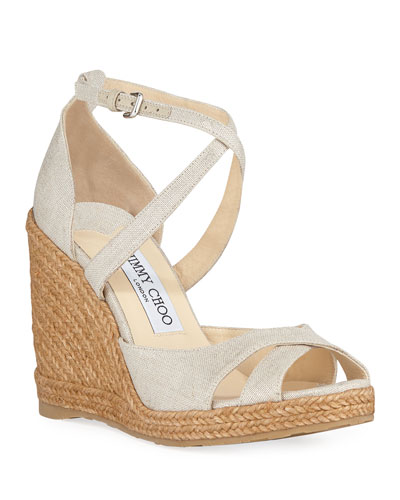 Alanah 105mm Linen Wedge Espadrilles