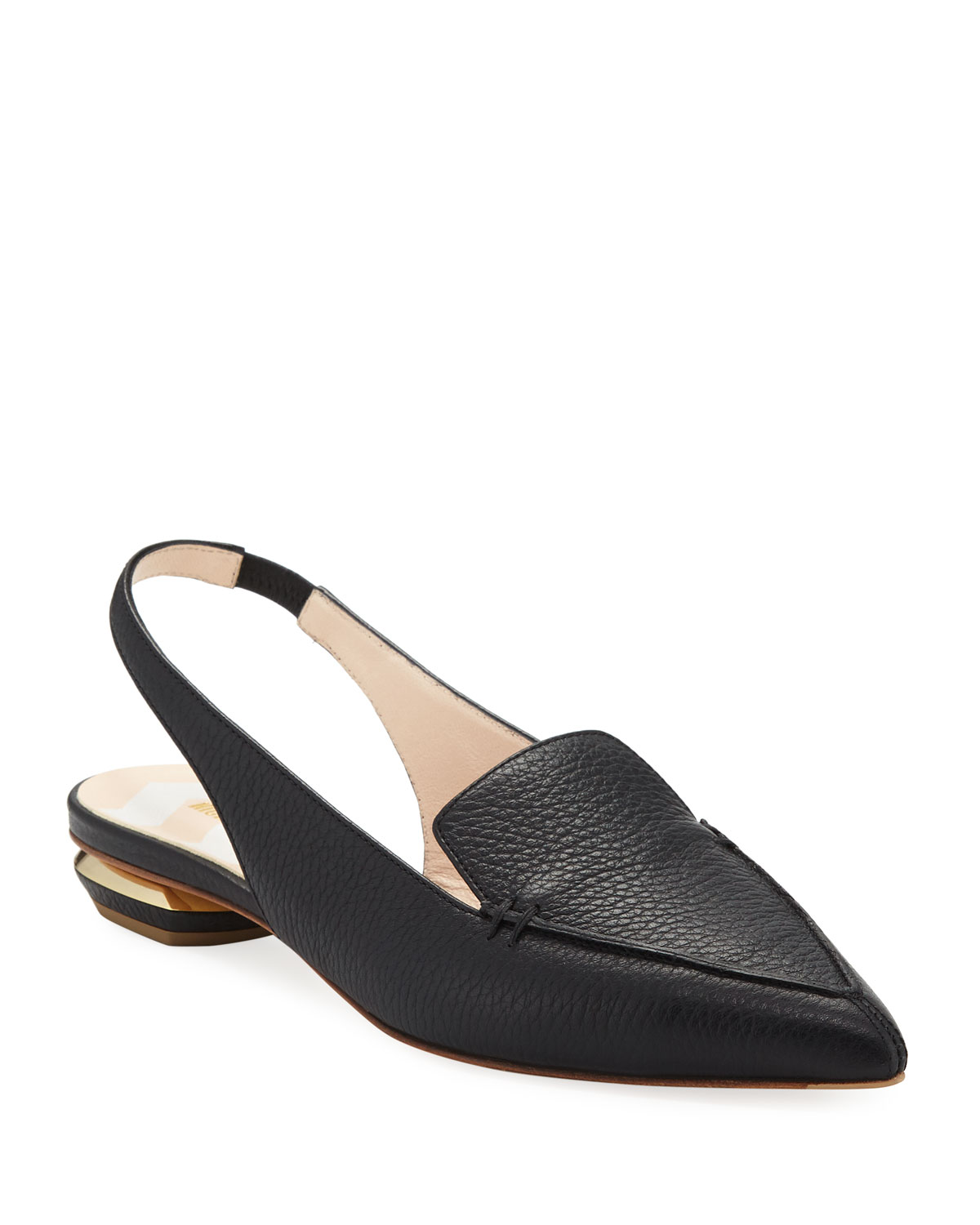 95152112d50 Nicholas Kirkwood Beya Slingback Grained-Leather Loafers In Black ...