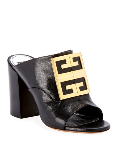 Leather 4G Logo 90mm Slide Sandals - Golden Hardware