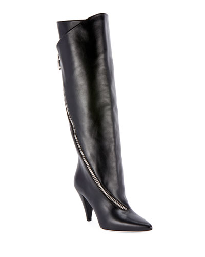 Leather Asymmetric Knee Boots