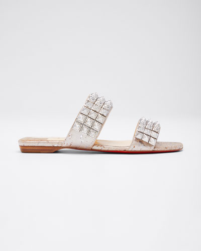 Myriadiam Flat Cork Red Sole Slide Sandals