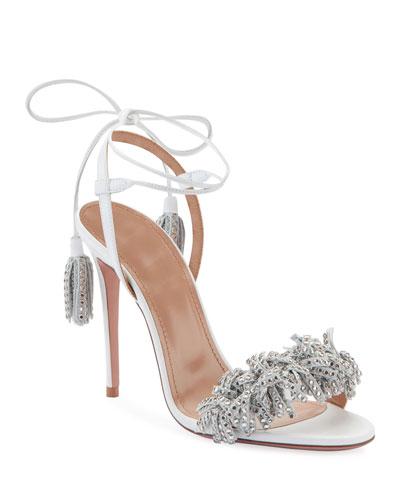 Wild Crystal Fringed Block Sandals, White