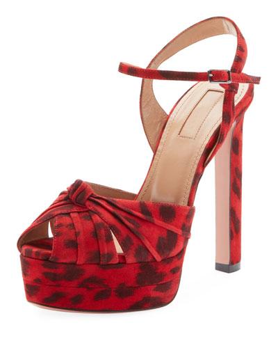 Evita Leopard-Print Suede Platform Sandals