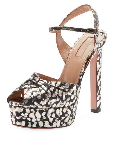 Evita Cheetah Metallic Jacquard Platform Sandals