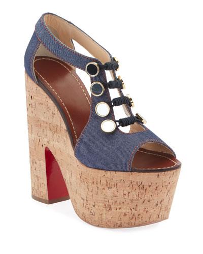 7de6414e29a2 Ordonanette 160 Denim Platform Red Sole Sandals Quick Look. Christian  Louboutin