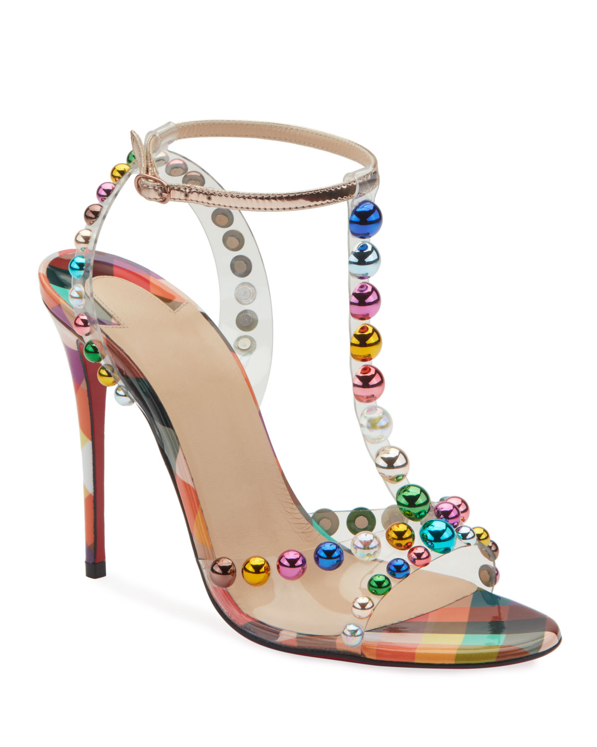 331223c6a0bd Christian Louboutin Faridavavie See-Through Vinyl Patent Red Sole T-Strap  Sandals In Red Multi