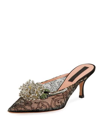 Dandelion Lace Slide 60mm Mules