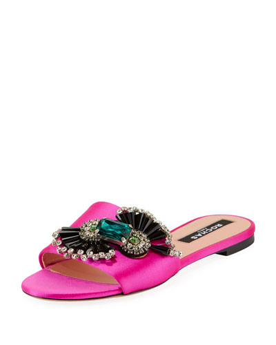 Embellished Satin Flat Sandals