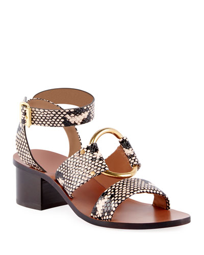 Rony Snake-Embossed Cutout Lace-Up Sandals