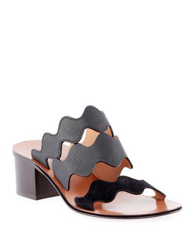 Wave Leather Slide Sandals