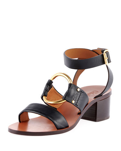 Slingback Leather Circle Sandals