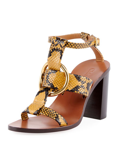 Snake-Embossed Leather Circle Sandals