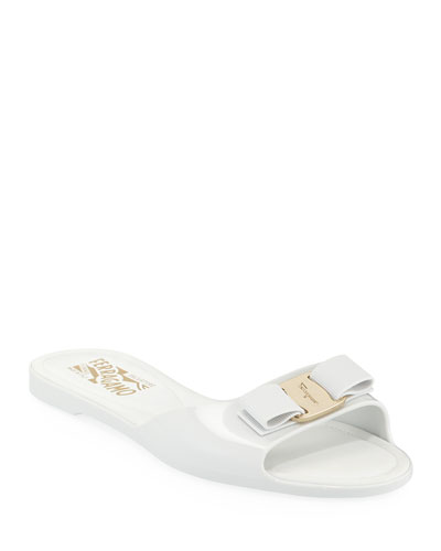 Cirella Flat PVC Jelly Bow Slide Sandals, White