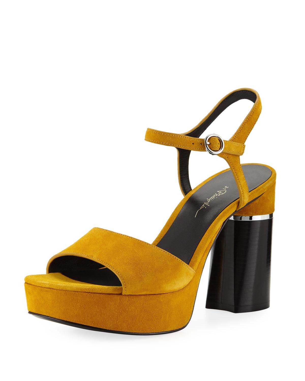 068846ddb2d0 3.1 Phillip Lim Ziggy Suede Platform Sandals In Amber