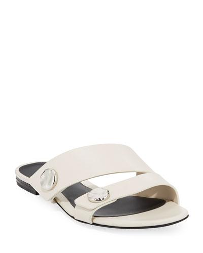 Drum Flat Leather Slide Sandals