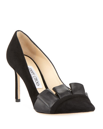 Leena 85mm Suede  Ruffle Pumps, Black