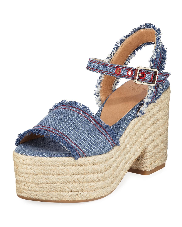 Xena Denim Platform Sandals, Blue