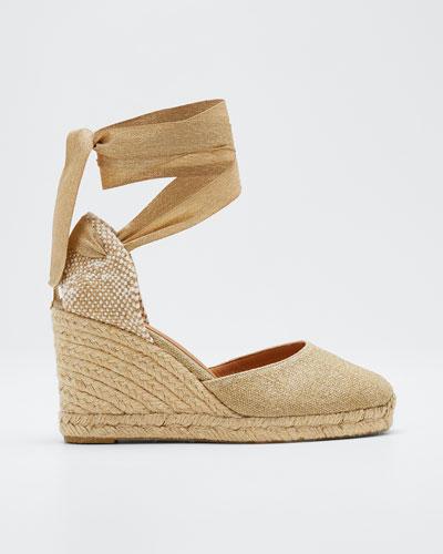e838a5d2f38dd0 Carina Linen Wedge Espadrille Sandals